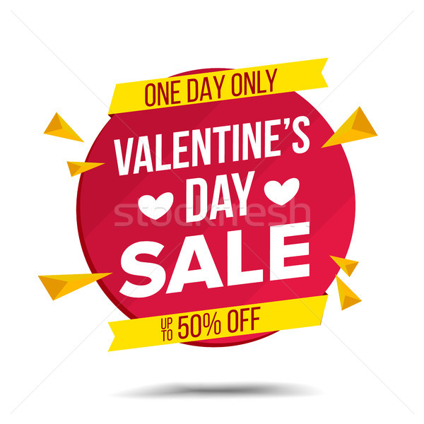 Valentine s Day Sale Banner Vector. February 14 Advertising Element. Isolated On White Illustration Stock photo © pikepicture