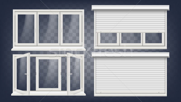 Plastic PVC Window Vector. Roller Blind. Opened And Closed. Front View. Home Window Design Element.  Stock photo © pikepicture