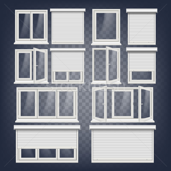Plastic pvc Windows ingesteld vector verschillend Stockfoto © pikepicture