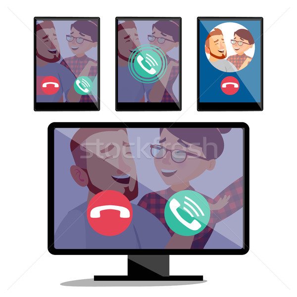 IP Telephony Vector. Desktop Pc Display Monitor Screen And Tablet. Incoming Voice Call. Web Internet Stock photo © pikepicture