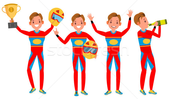 Sport Car Racer Male Vector. Red Uniform. Poses. Playing In Different Poses. Man Athlete. Turbo Rall Stock photo © pikepicture