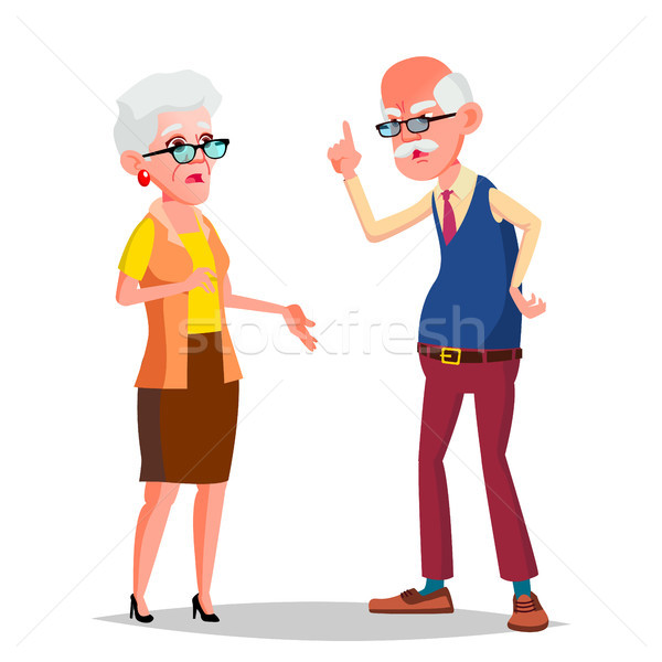 Elderly Couple Vector. Modern Grandparents. Old Age. With Glasses. Isolated Flat Cartoon Illustratio Stock photo © pikepicture