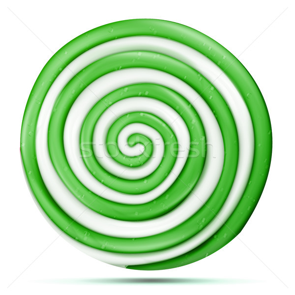 Lollipop Isolated Vector. Green Sweet Candy Round Swirl Illustration Stock photo © pikepicture