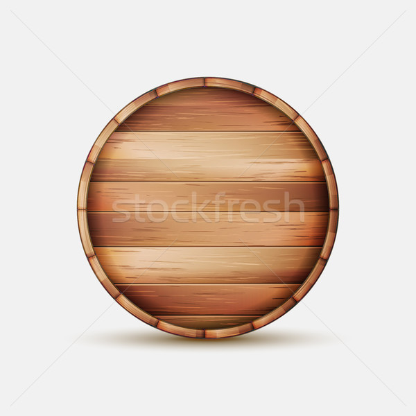 Barrel Wooden Sign Vector. Wooden Barrel Signboard For Cafe, Restaurant, Bistro, Brasserie, Beer, Wi Stock photo © pikepicture