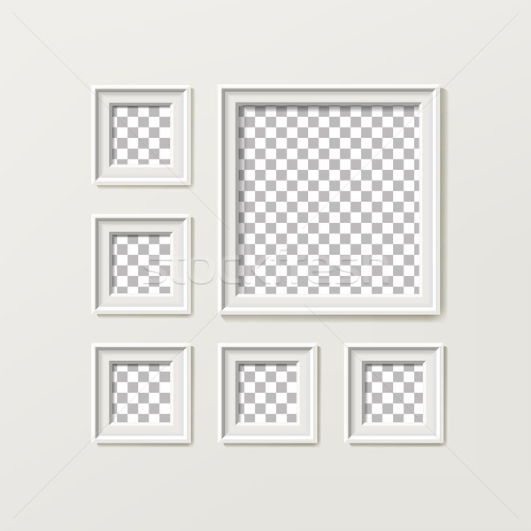 Blank Picture Frame Template Composition Set Vector Isolated on Wall Background Stock photo © pikepicture