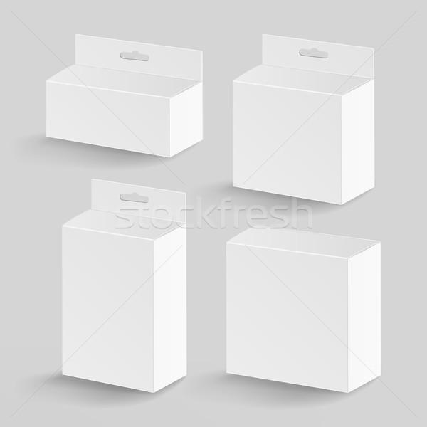 Witte karton rechthoek vector realistisch pakket Stockfoto © pikepicture