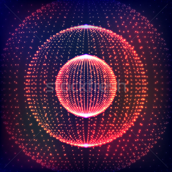 Abstract vector distorted sphere. Explosion of sphere with glowing particles. Abstract Globe Grid. S Stock photo © pikepicture