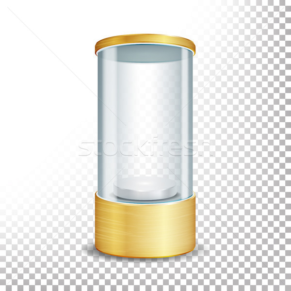 Empty Glass Showcase Podium With Spotlight And Sparks. Round Gold Blank For Exhibit And Display Your Stock photo © pikepicture