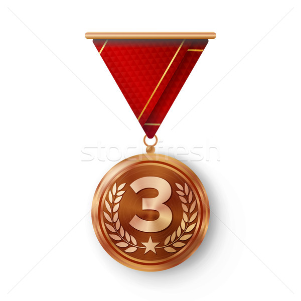 Stock photo: Bronze Medal Vector. Metal Realistic Third Placement Achievement. Round Medal With Red Ribbon, Relie