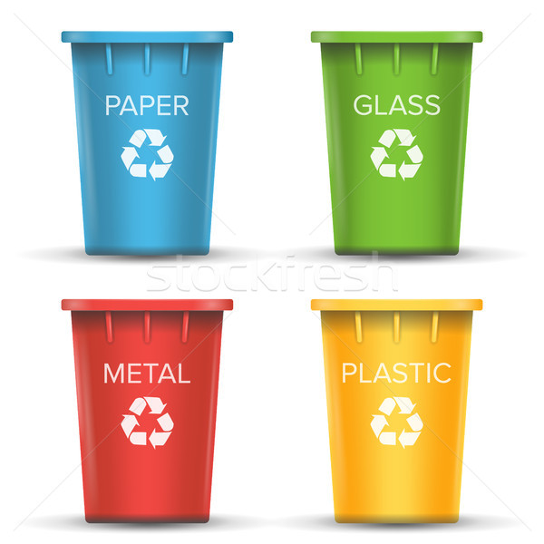 Multicolored Recycling Bins Vector. 3D Realistic. Set Of Red, Green, Blue, Yellow Buckets. For Paper Stock photo © pikepicture