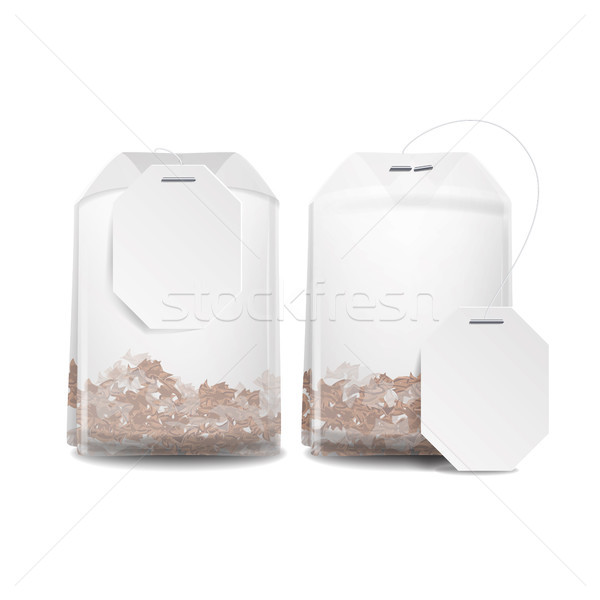 Realistic Tea Bag Teabag With Empty White Label. Isolated Vector Illustration Stock photo © pikepicture