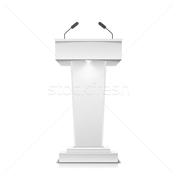 Tribune Isolated Vector. White Clean Podium Tribune Rostrum Stand. With Microphones. Illustration Stock photo © pikepicture