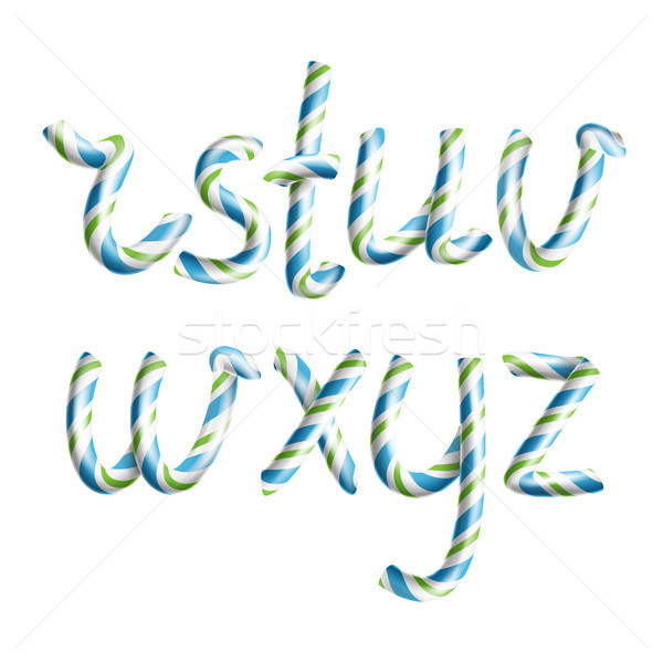 Letters R, S, T, U, V, W, X, Y, Z. Vector. 3D Realistic Candy Cane Alphabet Symbol In Christmas Colo Stock photo © pikepicture