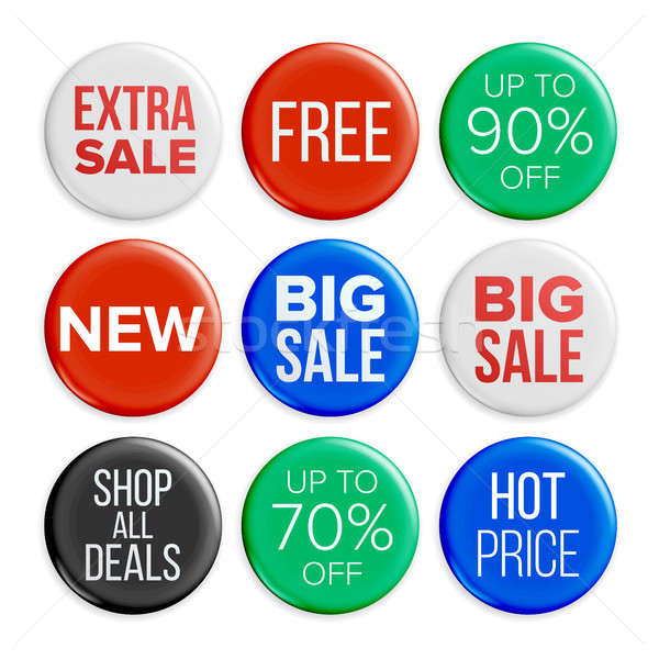 Sale Badges Vector. Discount Bubble Tags. Product Advertising Isolated Illustration Stock photo © pikepicture
