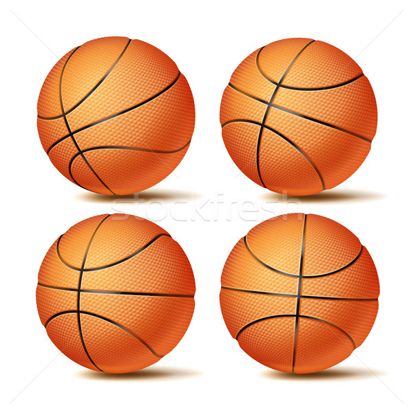 Realistic Basketball Ball Set Vector. Classic Round Orange Ball. Different Views. Sport Game Symbol. Stock photo © pikepicture