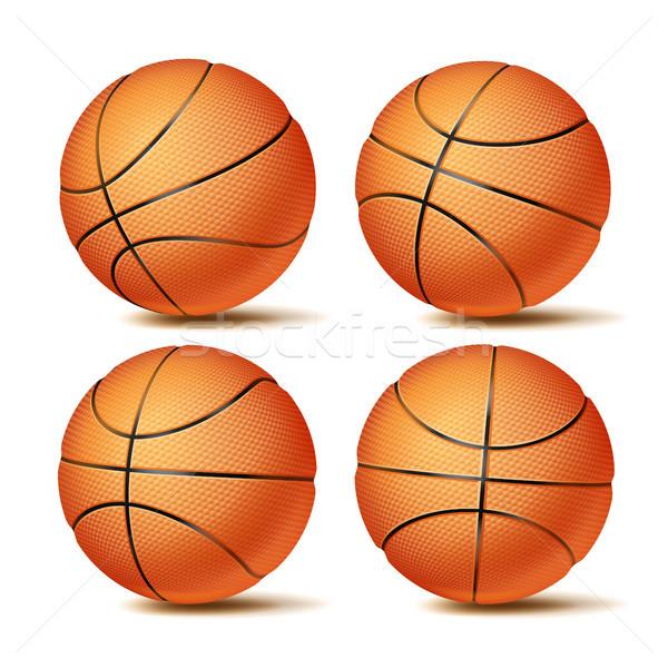 Realistisch Basketball Ball Set Vektor Stock foto © pikepicture