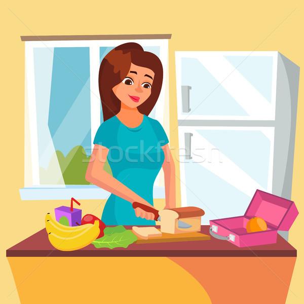 Stok fotoğraf: öğle · yemeği · kutu · vektör · klasik · sandviç · sebze