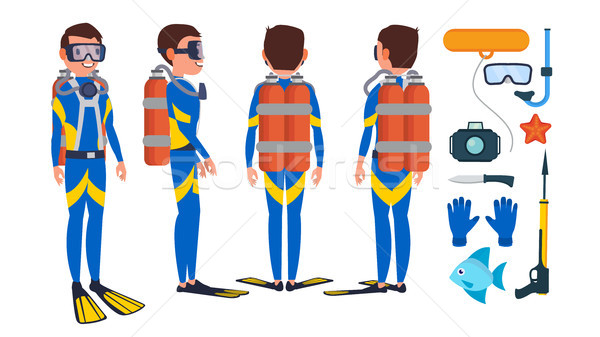 Diver Vector. Underwater. Diving At The Bottom Of The Sea. Flat Cartoon Illustration Stock photo © pikepicture