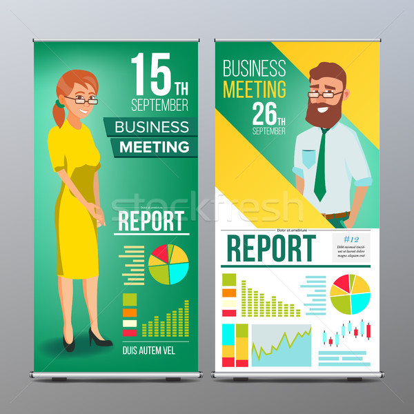 Roll Up Banner Vector. Vertical Billboard Template. Businessman And Business Woman. Expo, Presentati Stock photo © pikepicture
