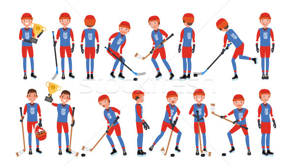 Modern Ice Hockey Player Vector. Different Poses. Athlete In Action. Flat Cartoon Illustration Stock photo © pikepicture