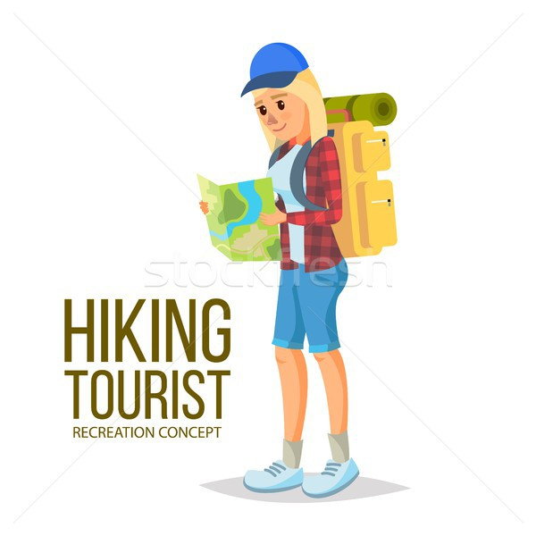 Hiking Girl Vector. Leading Healthy Lifestyle. Downshifting. Flat Cartoon Illustration Stock photo © pikepicture