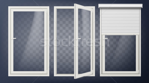Plastic Door Vector. PVC Plastic Profile. White Empty Roller Shutter. Opened And Closed. Isolated On Stock photo © pikepicture