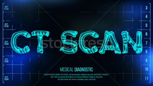 CT Scan Banner Vector. Medical Background. Transparent Roentgen X-Ray Text With Bones. Radiology 3D  Stock photo © pikepicture