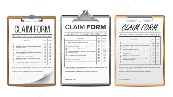 Claim Form Set Vector. Business Agreement. Legal Document. Insurance. Realistic Illustration Stock photo © pikepicture