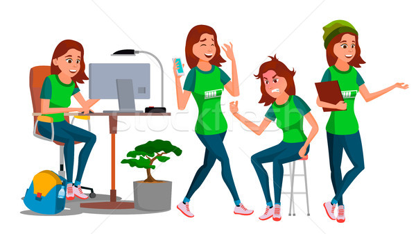 Business Woman Character Vector. Young Female In Different Poses. Teen Clerk In Office Clothes. Desi Stock photo © pikepicture