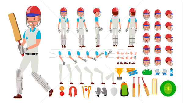 Cricket Player Male Vector. Sport Cricket Player Man. Cricketer Animated Character Creation Set. Ful Stock photo © pikepicture