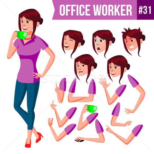 Office Worker Vector. Woman. Happy Clerk, Servant, Employee. Business Human. Face Emotions, Various  Stock photo © pikepicture
