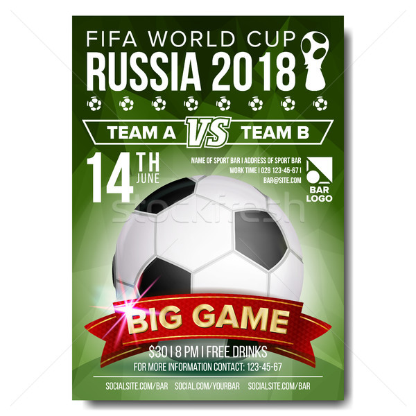 2018 FIFA World Cup Poster Vector. Welcome To Russia. Soccer Football Ball. Design For Sport Bar Pro Stock photo © pikepicture