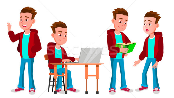 Boy Schoolboy Kid Poses Set Vector. High School Child. Secondary Education. Educational, Auditorium, Stock photo © pikepicture