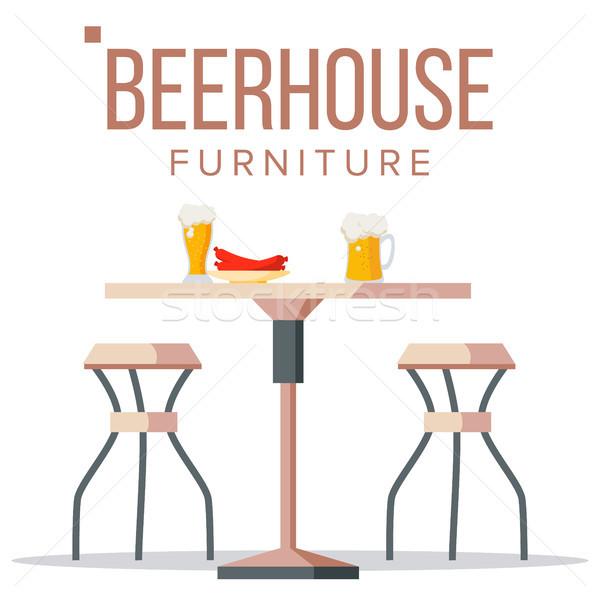 Cerveza casa muebles vector cervecería mesa de madera Foto stock © pikepicture