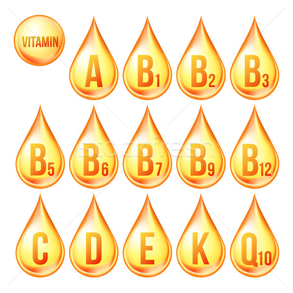 Vitamin Icons Set Vector. Organic Vitamin Gold Drop Icon. Droplet, Golden Substance. 3D Complex With Stock photo © pikepicture