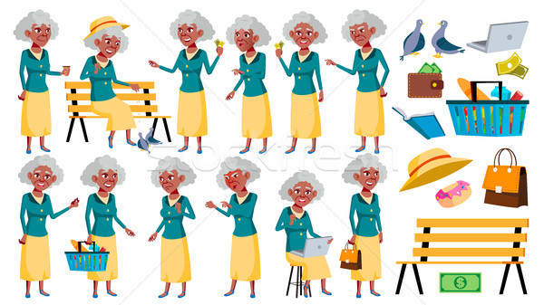 Old Woman Poses Set Vector. Elderly People. Senior Person. Aged. Black. Afro American. Caucasian Ret Stock photo © pikepicture