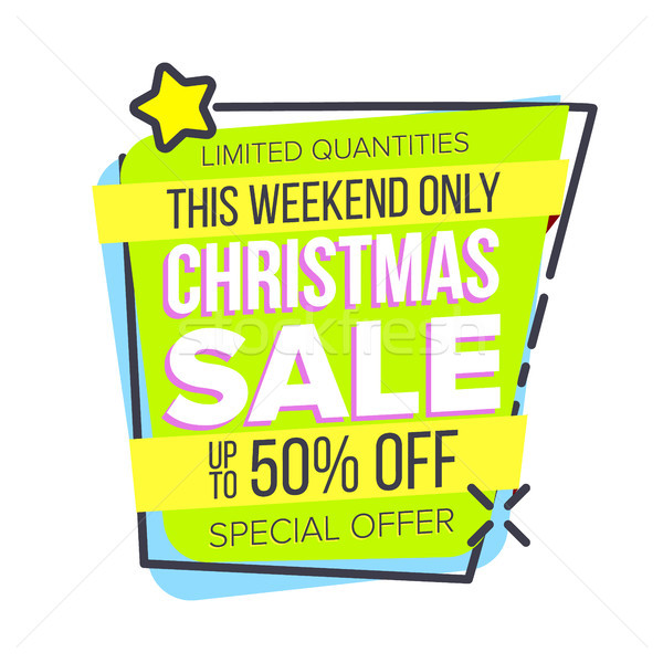 Christmas Big Sale Sticker Vector. Template For Advertising. Discount Tag, Special Offer Banner. Pro Stock photo © pikepicture