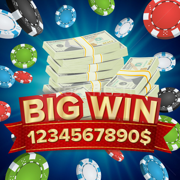 Big Win Banner. Background For Online Casino, Gambling Club, Poker, Billboard. Poker Chips Jackpot I Stock photo © pikepicture