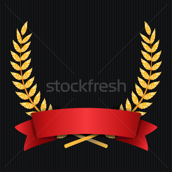 Gold Laurel Vector. Shine Wreath Award Design. Red Ribbon. Place For Text Stock photo © pikepicture