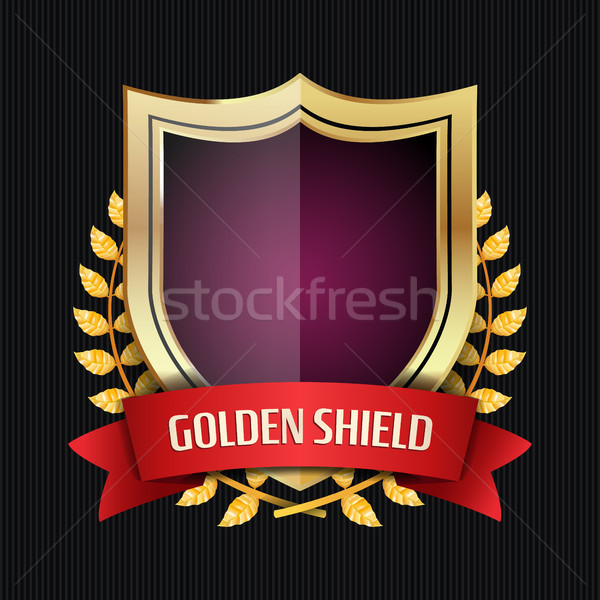 Golden Shield With Laurel Wreath And Red Ribbon Stock photo © pikepicture