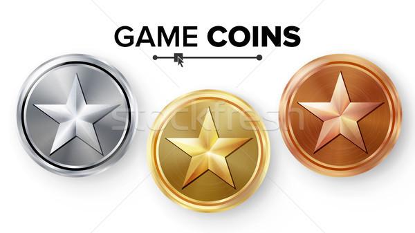 Stockfoto: Spel · goud · zilver · bronzen · munten · ingesteld