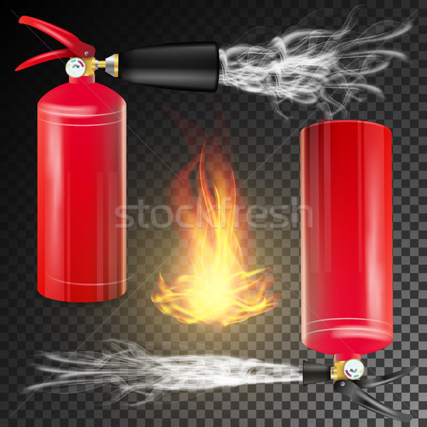 Red Fire Extinguisher Vector. Fire Flame Sign And Metal Red Fire Extinguisher. Transparent Backgroun Stock photo © pikepicture