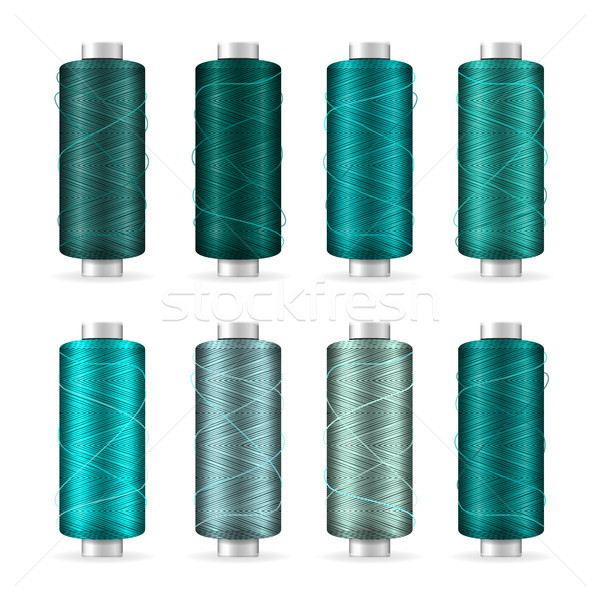 Thread Spool Set. Bright Plastic Bobbin. Isolated On White Background For Needlework And Needlecraft Stock photo © pikepicture