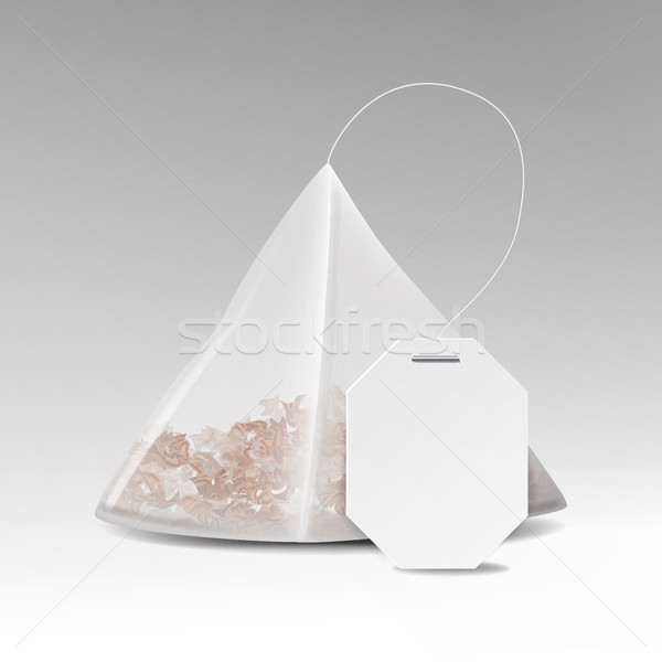 Pyramid Tea Bag Mock Up With Empty White Label. Vector Template Illustration For Your Design. Isolat Stock photo © pikepicture