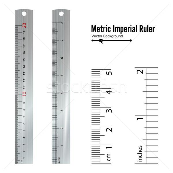 Metryczny wektora centymetr cal środka narzędzia Zdjęcia stock © pikepicture