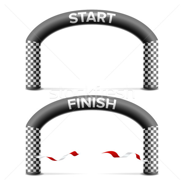 Finish, Start Line Arch Isolated Vector. Sport Event. Triathlon, Skiing, Marathon Racing Concept. Is Stock photo © pikepicture