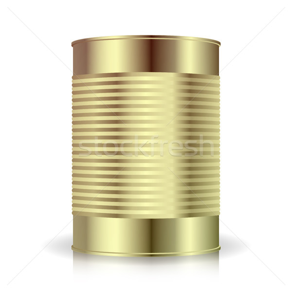 Metallic Cans Vector. Food Tincan Ribbed Metal Tin Can, Canned Food. Blank For Your Design. Realisti Stock photo © pikepicture