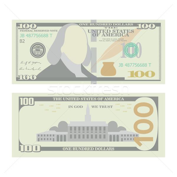 100 dollár bankjegy vektor rajz kettő Stock fotó © pikepicture