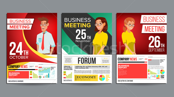 Business meeting poster set vector businessman and business woman add to lightbox download comp stopboris Images