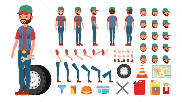 Truck Driver Vector. Animated Trucker Character Creation Set. Full Length, Front, Side, Back View, A Stock photo © pikepicture